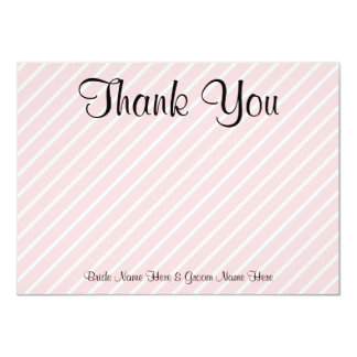 "Pale Pink Diagonal Stripes Wedding Thank You 4.5"" X 6.25"" Invitation Card"