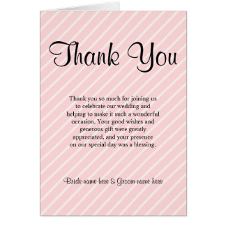 Pale Pink Diagonal Stripes Wedding Thank You Note Card