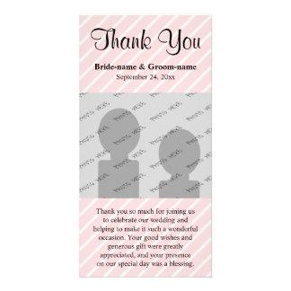 Pale Pink Diagonal Stripes Wedding Thank You Photo Card Template