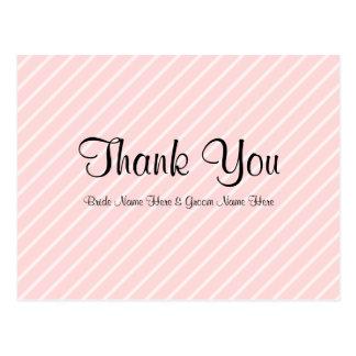 Pale Pink Diagonal Stripes Wedding Thank You Postcard