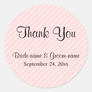 Pale Pink Diagonal Stripes Wedding Thank You Round Sticker