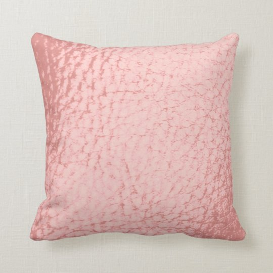 Pale Pink Faux Leather Throw Pillow