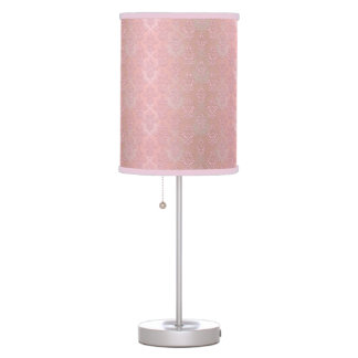 Pale Pink Feminine Damask Pattern Table Lamp