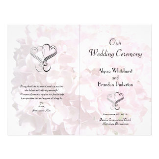 Pale Pink Floral Hearts Folded Wedding Program