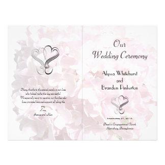 Pale Pink Floral Hearts Folded Wedding Program Full Color Flyer