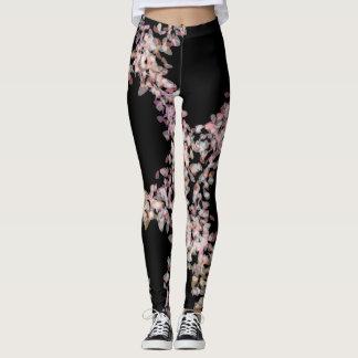 Pale Pink Floral on Black Leggings