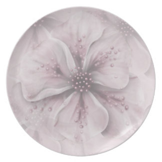 Pale Pink Flowers Plate