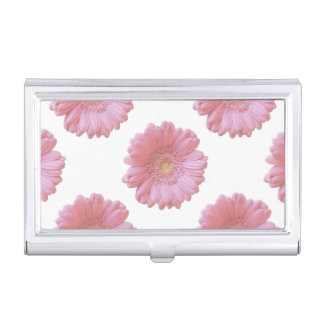 Pale pink gerbera daisy business card holder