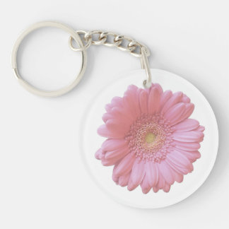 Pale pink gerbera daisy Double-Sided round acrylic keychain
