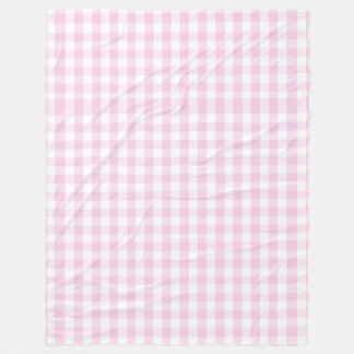 pale pink gingham white trendy girly cute country fleece blanket