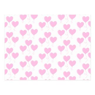 Pale Pink Heart Balloon Pattern. Postcard