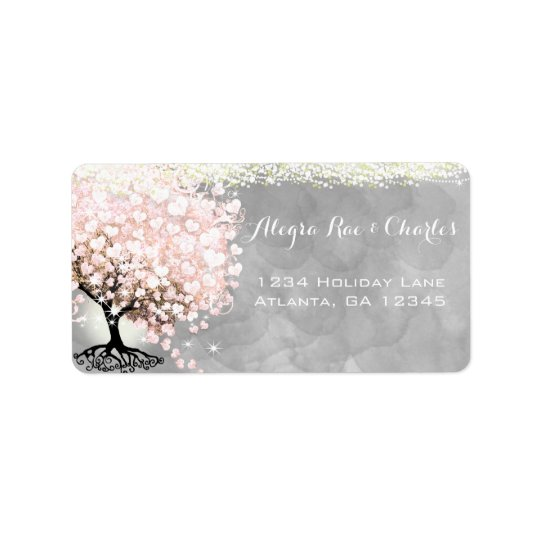 Pale Pink Heart Leaf Tree on Grey Watercolor Label