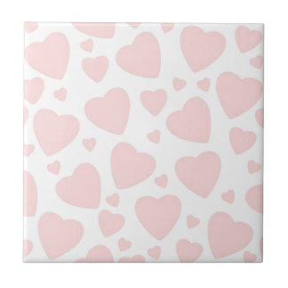 Pale Pink Hearts Tile