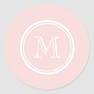 Pale Pink High End Colored Monogram Classic Round Sticker