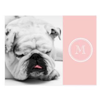 Pale Pink High End Colored Monogram Post Card