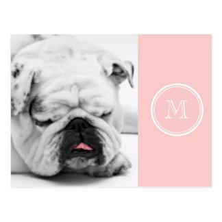 Pale Pink High End Colored Monogram Postcard