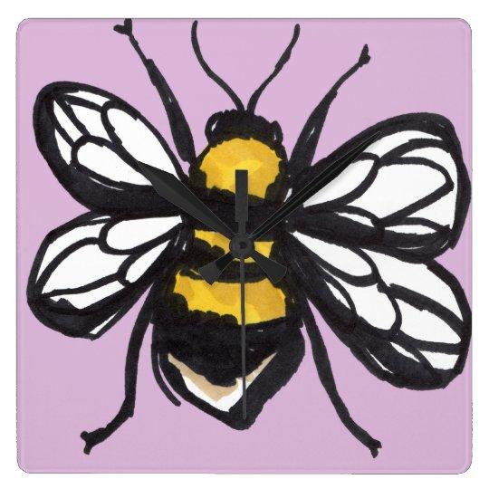 Pale Pink Humble Bumblebee Clock
