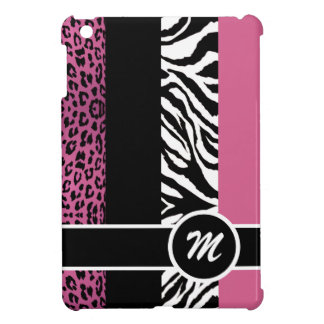 Pale Pink Leopard and Zebra Monogram Animal Print iPad Mini Cover