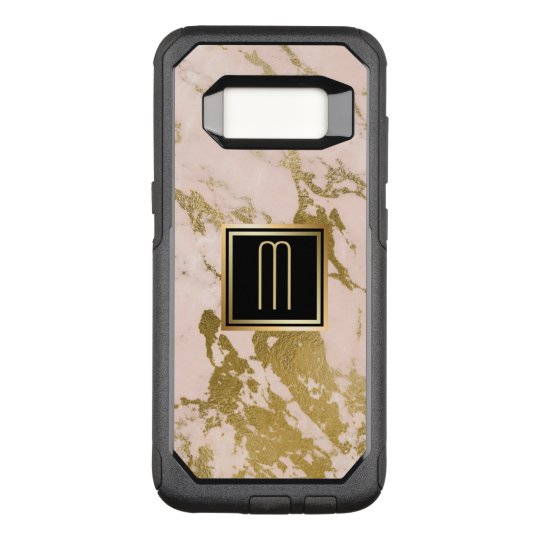 Pale Pink Marble Gold Monogram OtterBox Commuter Samsung Galaxy S8 Case