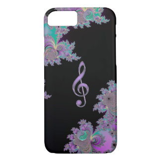 Pale Pink Music Clef Black Fractal iPhone 7 Case