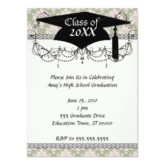 pale pink on sage green ornate damask graduation personalized announcements