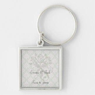 pale pink on sage green ornate damask pattern Silver-Colored square keychain