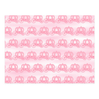 Pale Pink Pattern of Princess Carriages Postcard
