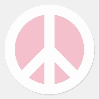 Pale Pink Peace Symbol Classic Round Sticker