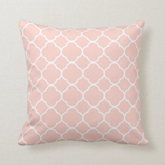 Pale Pink Quatrefoil Moroccan Print Throw Cushion