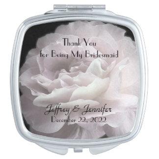 Pale Pink Rose Bridesmaid Thank You Custom Makeup Mirror