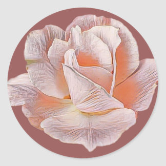 Pale Pink Rose Classic Round Sticker