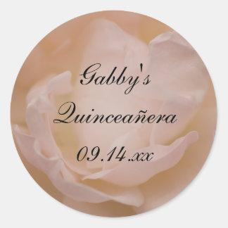 Pale Pink Rose Floral Quinceañera Favor Tag