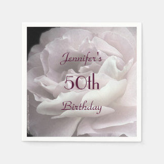Pale Pink Rose Paper Napkins, 50th Birthday Party Paper Napkin
