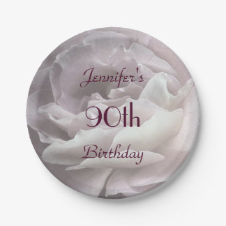 Pale Pink Rose Paper Plates, 90th Birthday Party 7 Inch Paper Plate