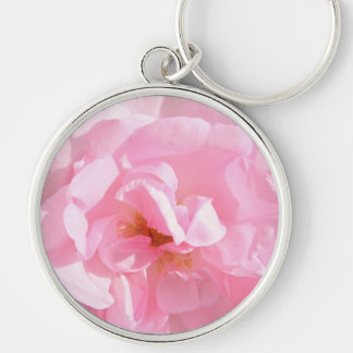 pale pink rose petals Silver-Colored round keychain
