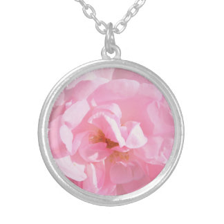 pale pink rose petals silver plated necklace