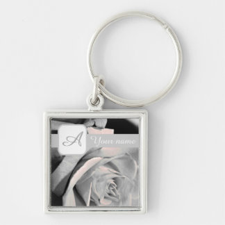 Pale Pink Rose Silver-Colored Square Keychain