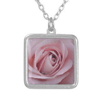 pale pink rose silver plated necklace