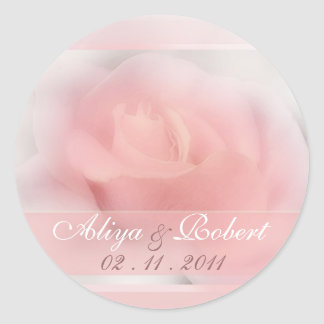 pale pink rose wedding date reminder classic round sticker
