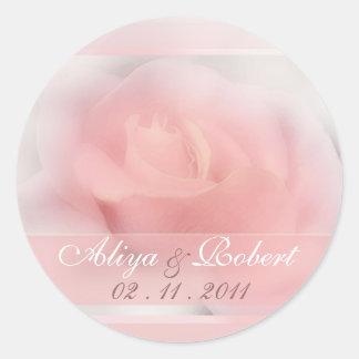 pale pink rose wedding date reminder round stickers