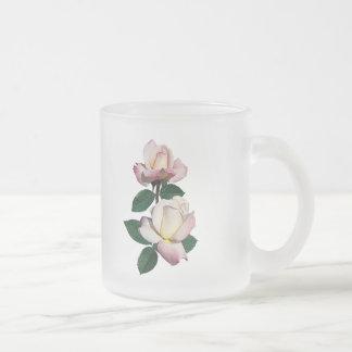 Pale Pink Rosebuds Variety Pristine Frosted Glass Coffee Mug