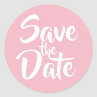 Pale Pink Save the Date Classic Round Sticker