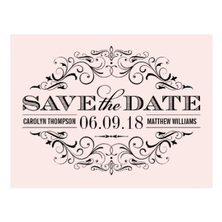 Pale Pink Save the Date | Swirl and Flourish Postcards
