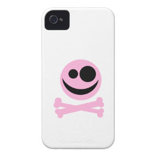 Pale Pink Skull and Crossbones. Pink and Black. iPhone 4 Case-Mate Case