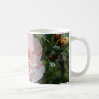 Pale pink striped camellia coffee mug