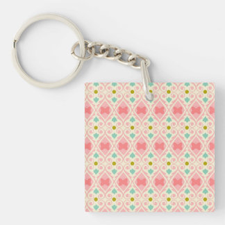 Pale Pink, Teal and Gold Butterfly Design Single-Sided Square Acrylic Keychain