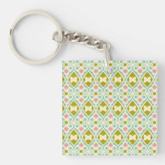 Pale pink, teal, gold butterflies Single-Sided square acrylic keychain