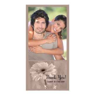 Pale Pink Tinted Daisy Wedding Thank You Card