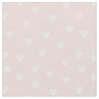 Pale pink tiny white hearts fabric