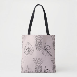Pale Pink Tote with Pineapple and Leaves Print